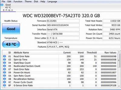 kiểm tra ổ cứng bad bằng CrystalDiskInfo