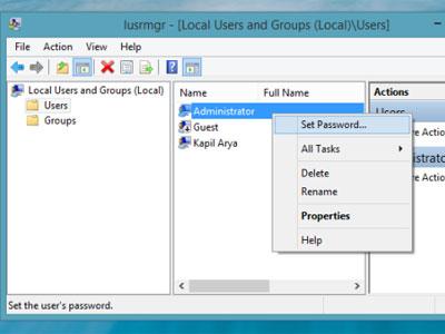 reset mật khẩu windows 8
