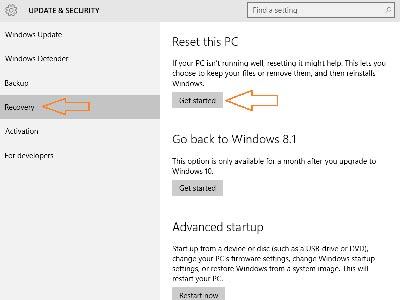 reset Windows 10 không bị mất dữ liệu